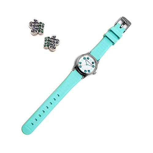 Juego Agatha Ruiz De La Prada Reloj Agr255 Azul Niña Pendientes Plata Ley 925M Flor Circonitas - Modelo: Agr255