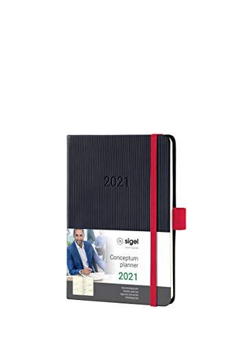 Sigel C2109 Terminplaner Wochenkalender 2021, ca. A6, schwarz/rot, Hardcover mit vielen Extras, Conceptum - weitere Modelle