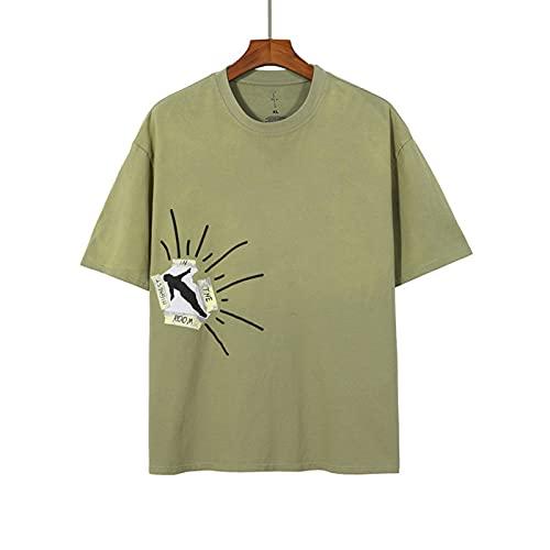 Travis Scott T-shirt, korta ärmar kortärmad för män kvinnor par, avslappnat mode sommar t-shirt, hiphop rapper kortärmad grön