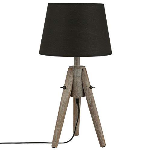Lampe zum Hinstellen - Dreifuß aus Paulownia Holz - Effekt: gebeizt - SCHWARZER Lampenschirm