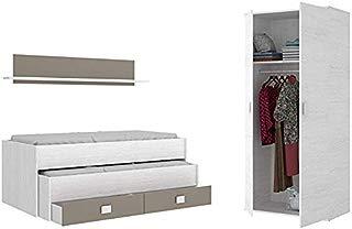 HABITMOBEL Pack Dormitorio Juvenil, Cama Nido 2 cajones + Armario de 2 Puertas 90 cm,Blanco Artico
