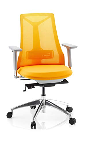 hjh OFFICE 731419 Profi Bürostuhl FALUN Grey Stoff/Netz Gelb Drehstuhl ergonomisch, Armlehnen & Lordosenstütze verstellbar