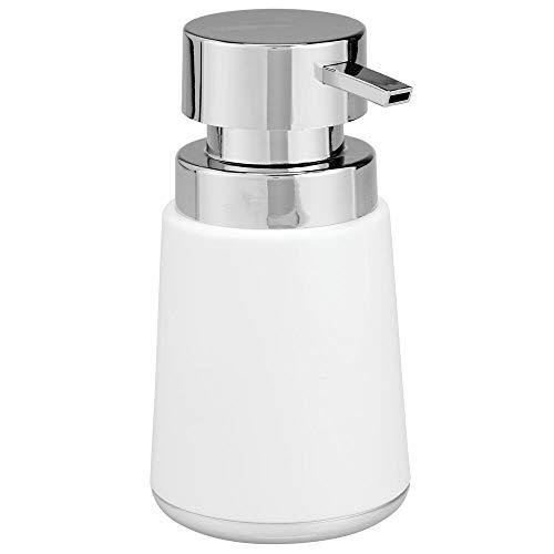 mDesign Badkamer Zeeppomp — Stijlvolle Zeepdispenser Pomp voor Badkamerwastafel — Handwash Dispenser voor de badkamer of keuken Wit/Chroom