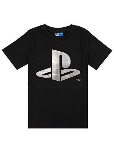 Playstation Foil Logo Print Junge Kinder Childs Schwarz Kurzarm-T-Shirt