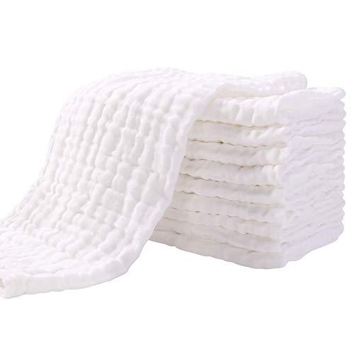 Mullwindeln Spucktücher 10er Stoffwindeln 33x43 cm Mulltücher Saugstark Waschlappen Baumwolle Faltwindeln für Baby Kochfest Premium Qualität Weiß YOOFOSS