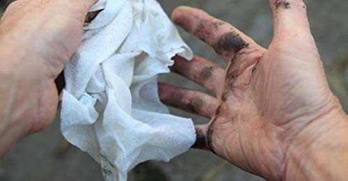 """Crocodile Cloth Industrial Cleaning Wipes - The Stronger Easier Way to Cut Through Grease, Oil, and Adhesives on Hands… 7 MORE EFFECTIVE, MORE VALUE: These giant 15"""" x 10"""" cloths are designed to scrub and absorb, meaning you need less wipes to clean the same mess. If you need more than one wipe for a mess you need to move on to Crocodile Cloth DON'T JUST CLEAN. ATTACK: Designed to dissolve and absorb grease, oil, paint, ink, caulk, glue, and automotive messes in real work environments. Our wipes stay moist longer and feature a super tough heavy-duty build HAND SAFE: Our wipes are dermatologically tested and infused with aloe and vitamin E to be safe for hands while eating through grease and oil. Every disposable cloth will stay wet outside the package for over an hour."""