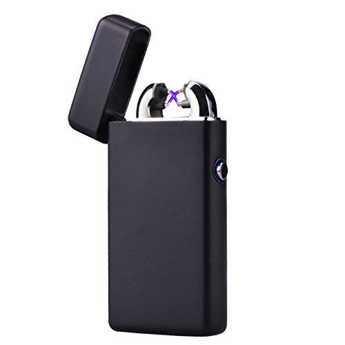 CHAOBEITE USB Elektronisches Feuerzeug Dual Lichtbogen Aufladbar Winddicht (Matt-Schwarz) Matt-schwarz