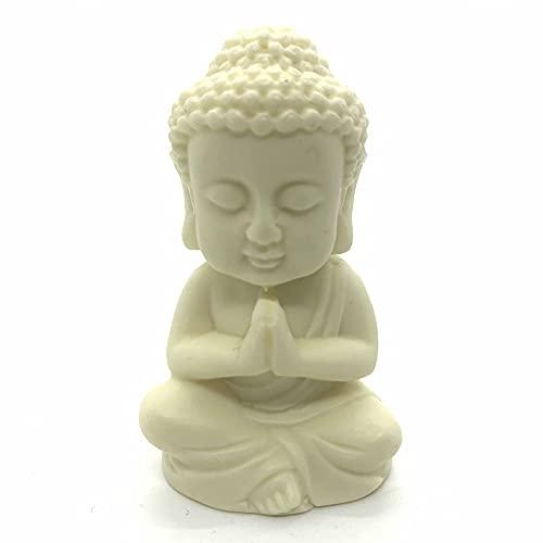 Small Buddha Statue,2.5' Ivory Finish Baby Buddha,Shakyamuni Buddha Meditating Statue,Home Decor Desk Decoration,Zen Decor Bring Peace and Happy
