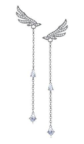 Pendientes colgantes de plata de ley, diseño de alas de ángel con diamante de imitación