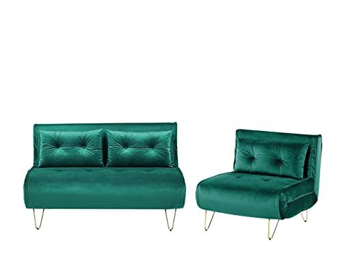 Beliani Conjunto de sofás Cama de Terciopelo Verde Oscuro VESTFOLD