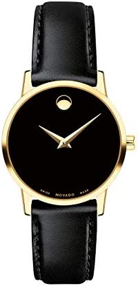 MOVADO Swiss Museum Classic Black Dial Women s Gold PVD Slim Leather Watch product image