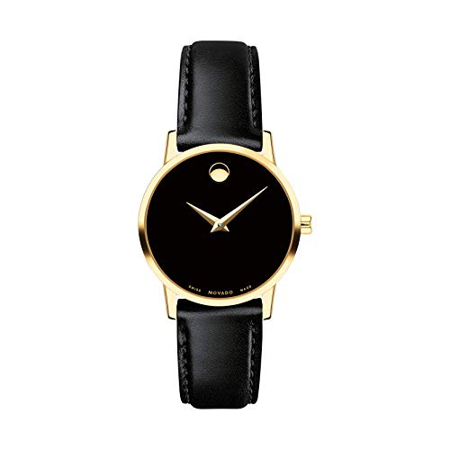 MOVADO Swiss Museum Classic Black Dial Women's Gold PVD Slim Leather Watch