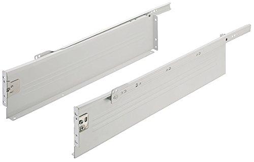 Gedotec Schubkasten-System Küchen-Schrank Schubladen-Schiene Teilauszug Schubladen-Box Metall | Nennlänge: 350 mm | Tragkraft 25 kg | Höhe 118 mm | 1 Paar - Auszüge Set weiß für Holz-Schubkästen