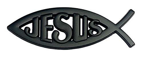 Enterprises Jesus Fish Symbol Ichthus Christian Emblem 4' X 1.25' Metal Adheres Almost Anywhere Auto Truck Doors Mirror Tool Boxes Multiple Colors Silver Gold Black Red (Black)