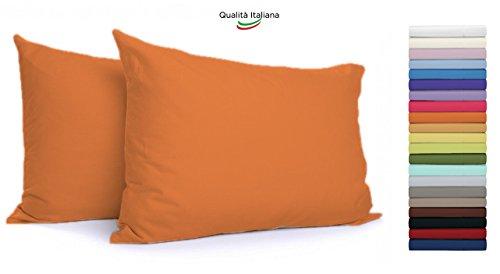 Tata Home Coppia Federe con Patella di 25 cm per Guanciali 100% Cotone Misura cm 50x80 Colore Arancio Made in Italy 57 Fili al cm2