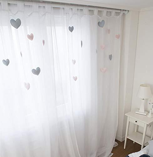 LIDUO Cortinas semitransparentes Blancas -1 Paneles,Cortinas de Dormitorio para niñas/Cortinas de separación/Cortinas térmicas/Ocultas/para Habitaciones/balcón/Sala de Estar/Habitaciones Infantiles
