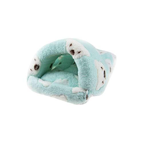POPETPOP Ratte Hamster Haus Bett Winter warme Fleece Kleine Haustier Eichhörnchen Igel Chinchilla Kaninchen Meerschweinchen Bett Haus Käfig Nest Hamster Zubehör - Größe klein (grün)