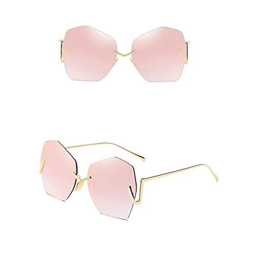 Cool Retro Gafas De Sol Mujeres Sin Llantas Polígono Sombras Señoras Marca de Lujo Diseñador De Conducción Gafas De Sol Mujer Vintage Antellas Gafas De Sol Gafas De Moda Para Damas