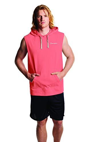 Champion Men's MIDDLEWEIGHT Sleeveless Hoodie, Citrus Pink, 2X Large