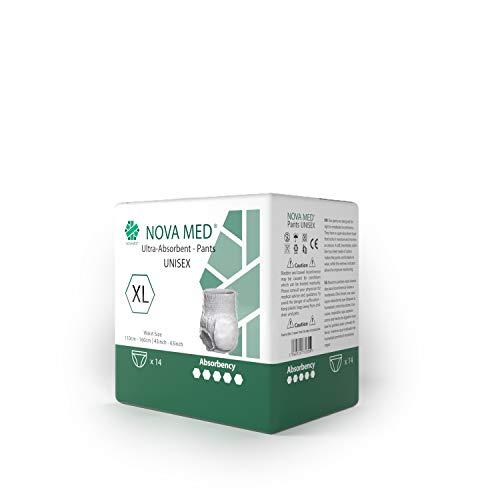 Novamed Inkontinenzeinlagen für Erwachsene, Klimmzughöschen, Windeln für Erwachsene, 14 Stück pro Packung (X-Large) – 2150 ml Saugfähigkeit (1 Packung mit 14 Stück)