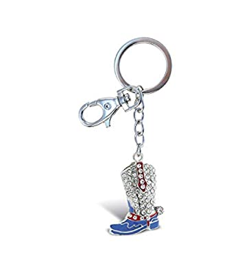 Aqua79 Cowboy Boot Keychain - Silver 3D Sparkling Charm Rhinestones Fashionable Stylish Metal Alloy Durable Keyring Bling Crystal Jewelry Accessory With Clasp For Keychain, Purse, Backpack, & Handbag