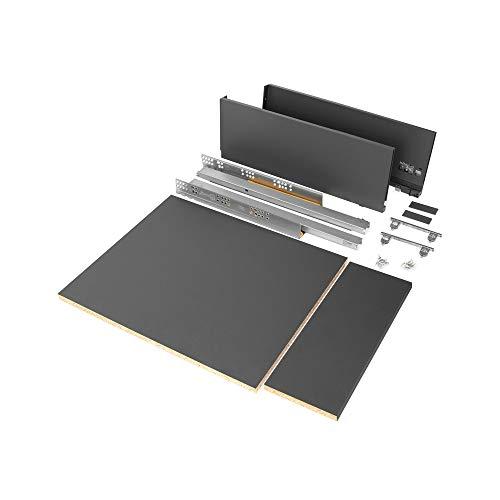 Emuca - Kit de cajón para cocina o baño con tableros incluidos y guias de extracción total con cierre suave, altura 178 mm para módulo 450 mm y profundidad 500 mm, Gris Antracita.