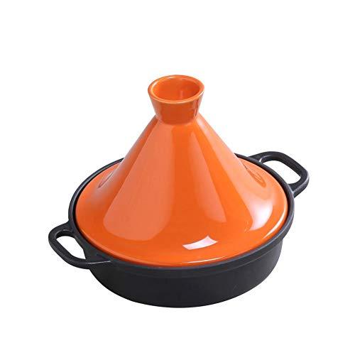 Marokkanischer Tajine Topf aus emailliertem Gusseisen Ø 26 cm Tontopf zum Kochen Schongarer Handgetöpfert Glasiert frei von Schadstoffe Für alle Herdarten, Induktion und Backofen Geeignet,orange
