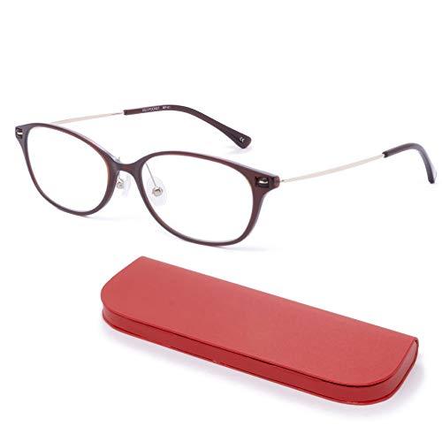 MIDI-ミディ おしゃれ 老眼鏡 MIDIポケット 14mmの極薄メガネケースに収納 ブルーライトカット 紫外線カット レディース 軽量 ショコラブラウン (MP-01,C2,+0.75