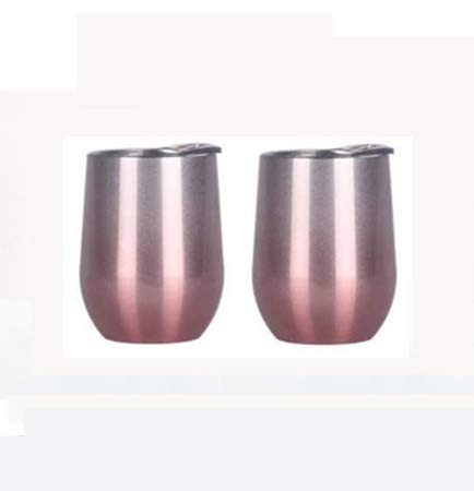 2 vasos de vino sin tallo de 12 onzas con tapa de acero inoxidable de doble pared aislada al vacío tazas de café tazas de viaje (cobre, 12 onzas)