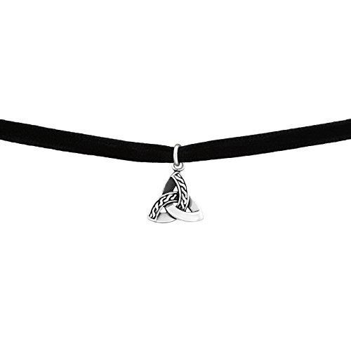 Laimons dames choker-halsketting drievoudig, geoxideerd zwart fluweel sterling zilver 925