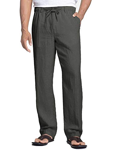 COOFANDY Men's Linen Cotton Pants Casual Elastic Waist Drawstring Trousers Dark Grey