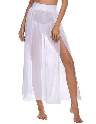 iClosam Pareo Mare Donna 2021 Mini Elegante Chiffon Cover Up Wrap Sarong Copricostumi (bianca3, Taglia Unica)