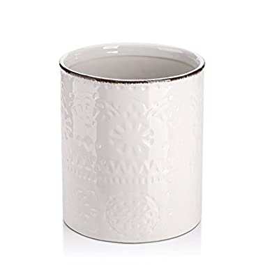 Lifver Fine Embossed Ceramic Crock Utensil Holder, 7.2  x 6.2 , White