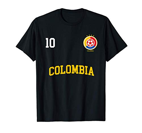 Squadra Calcio Colombia Numero 10 Bandiera Colombiano Maglietta