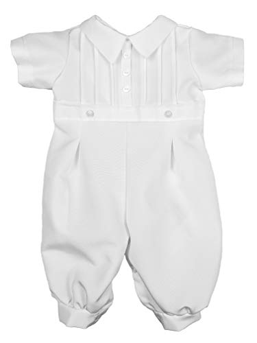 Little Things Mean A Lot Baby Boys White Short Sleeve Collared Romper Coverall with Pin-Tucking 3M