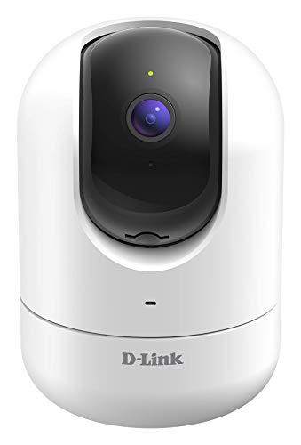 D-Link DCS-8526LH Cámara WiFi Full HD con giro motorizado, seguimiento personas, visión nocturna, detección personas que manda alerta y graba vídeo en la nube, Alexa, puerto red LAN, ONVIF, blanca