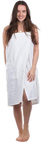 Sansibar - Tuta da sauna da donna S-XXL, con chiusura in velcro, elastico e tasca con logo ricamato, 100% cotone, colore: Bianco