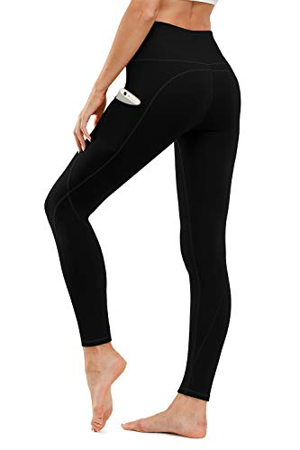 TUNGLUNG High Waist Yoga Pants, Yoga Pants with Pockets Tummy Control Workout Pants 8 Way Stretch Pocket Leggings Black