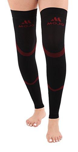 Mojo Compression Stockings Medical Thigh Leg Sleeve 20-30mmhg Black/Red Medium