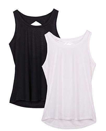 icyzone Damen Yoga Sport Tank Top Rückenfrei Fitness Oberteil ärmellos Shirts, 2er Pack (L, Schwarz/Weiß)