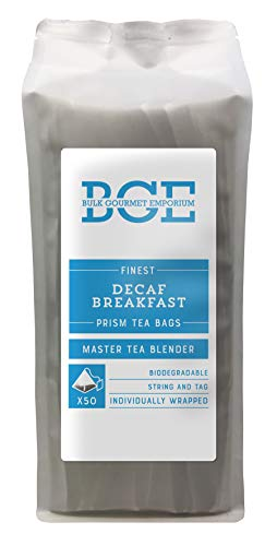 Bulk Gourmet Emporium - Te de desayuno descafeinado en bolsitas piramidales individuales biodegradables y reciclables (pack de 50)