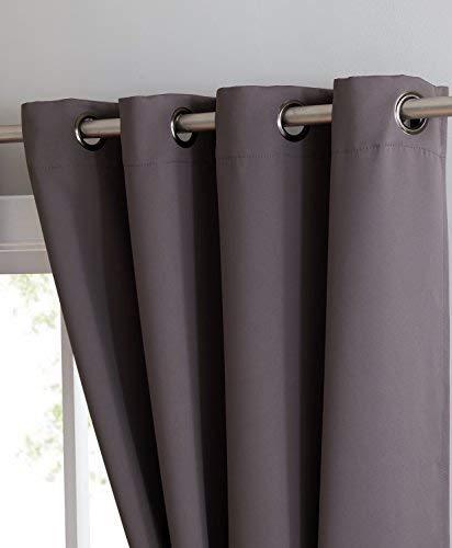 Nicole – Panel de cortina opaca con aislamiento térmico premium – 8 ojales – 1 alzapaño de cuerda – 54 pulgadas de ancho – 63 pulgadas de largo (1 panel de 54 W x 63 L, color carbón)