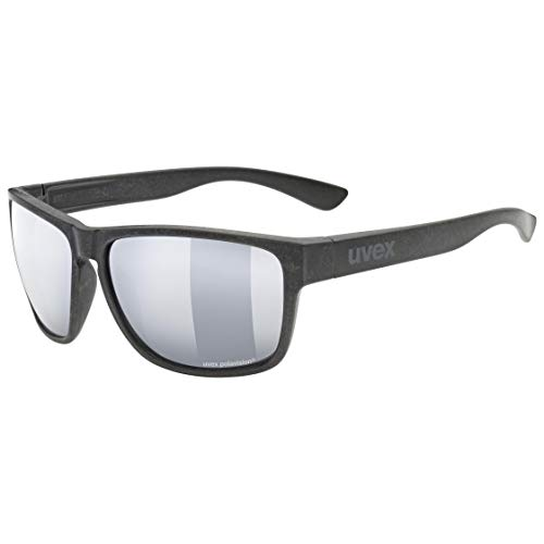 uvex lgl Ocean P Gafas de Sol, Unisex-Adult, Black Mat/Silver-Silver, One Size