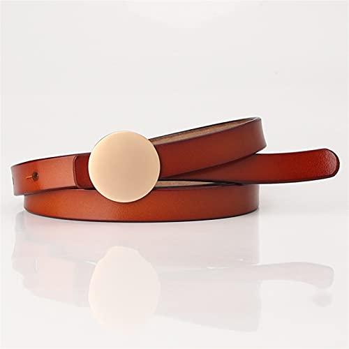 YSJJLRV Lámpara de Pared Cinturones de Mujer Dorado clásico Retro Hebilla Redonda Cintura Correa Negra Damas Mujer Cintura Femenina (Belt Length : 105CM, Color : Camel)