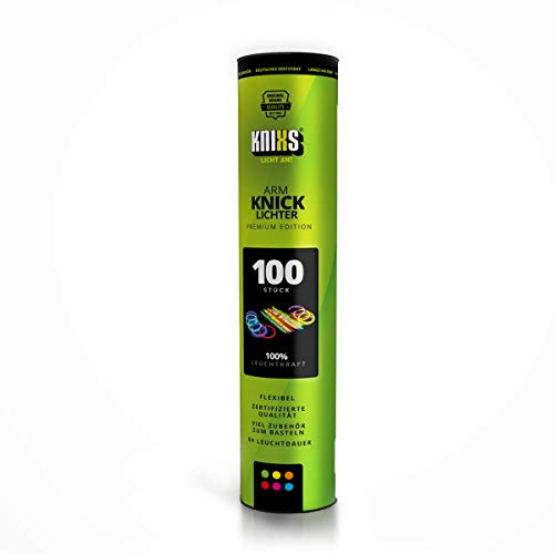 KNIXS - 100 Knicklichter, seit 10 Jahren in Profiqualität | 100 3D-Verbinder | 2 extra Ballverbinder, 6 Farben Mix | Glowstick / Leuchtstab - für Party, Konzerte, Karneval, Hochzeit