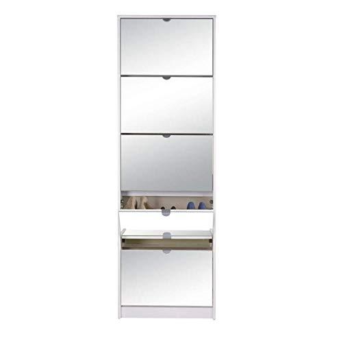 Avanti Trendstore - Koblenz - Scarpiera con Specchio e con 5 vani a ribalta in Laminato, in 2 Colori Diversi Disponibile, Dimensioni: Lap 58x177x17 cm (Bianco)