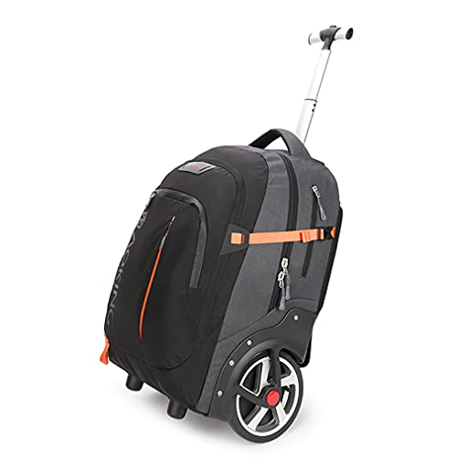 Zaino con ruote grande bagaglio 30 kg, ruota 18 cm può salire scale, per viaggi, lavoro, scuola, computer portatile, trolley, Nero , 60x37x25cm, Zaino da viaggio.