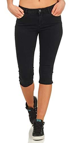 VERO MODA Damen Capri Jeans Shorts Hot Seven 10193077 Black XS