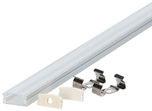 5er PAK Set: Aluminium LED Profil U-Form 100cm für LED Streifen bis 12mm + Abdeckung + Halterung + Endkappen LT4-1 (5X Transparent)