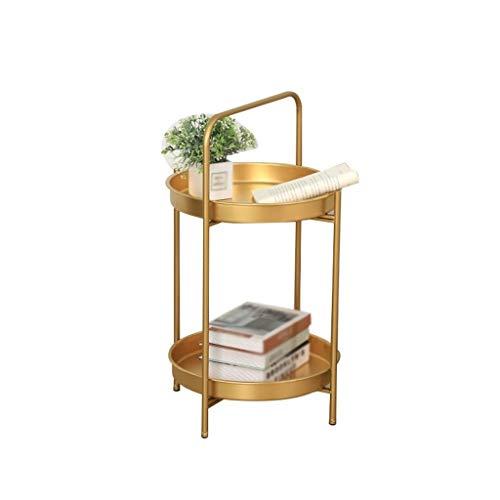XZGang Mesa Redonda pequeña for el hogar, Doble Capa de Metal Mesa del Living Dormitorio Flower Shop Mesa de estiba Vida Sencilla (Color : Gold, Size : 66.5 * 40.5CM)